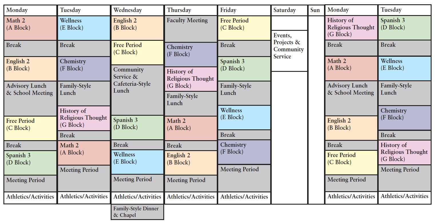 sample schedules st andrew s school